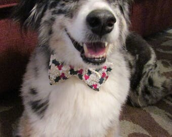 Dog Bow Tie Adjustable Christmas White with Gold and Holly