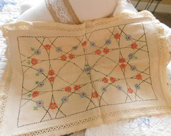 Beautiful 30s Antique Embroidered Pillow (cover only)