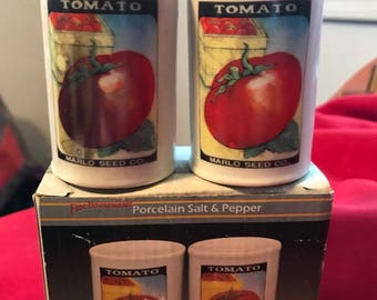 Vintage new in the box Armark salt and pepper shaker Set- Made in Japan- Tomatoe