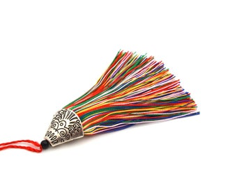Multicolored tassel with Silver Cup 8 cm