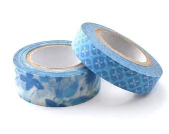 Set of 2 masking tape-blue patterns