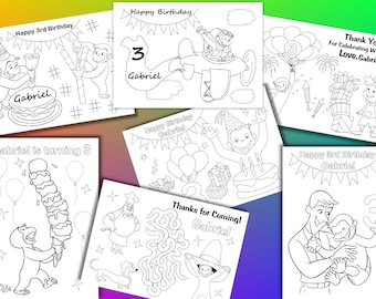 Curious George Birthday Party coloring pages, activity PDF file