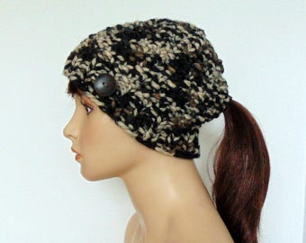 Chunky Knit Ponytail Hat Winter Beanie Pony Tail Hole Women Teen Made in Alaska Hat Gift for Her Camoflauge Camo Hunting