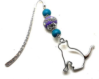 Silver jewelry, purple and turquoise beads, cat charm bookmark