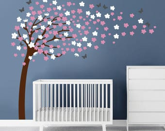 Blossom Tree Decal ,Cherry Blossom  Wall Decal with butterfies, Cherry Tree Decal, Flower Decals
