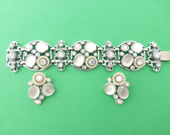 Selro Corp bracelet and clip on earring set silver tone glass cabochons AJ74