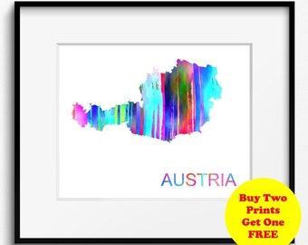 Austria Watercolor Map Art Print (522) Europe