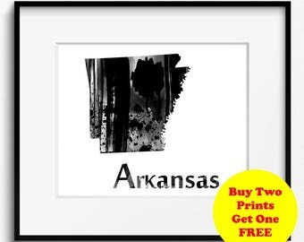 Arkansas State Map Watercolor Black and White Art Print (784) Natural State United States