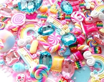 5/10/20pc Large kawaii cabochon set, fake candy, rainbows, polymer hearts, sprinkles, embellishment set, jelly rhinestone, bling,