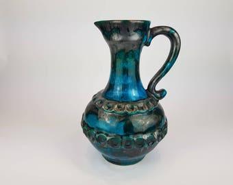 Black/blue Walter Gerhards Keramik Fat Lava Vase