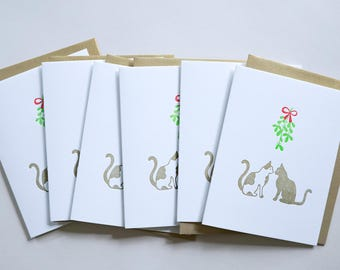 Merry Kissmas. Holiday Cards for Cat lovers. Boxed Set of 6 Letterpress Christmas Cards.