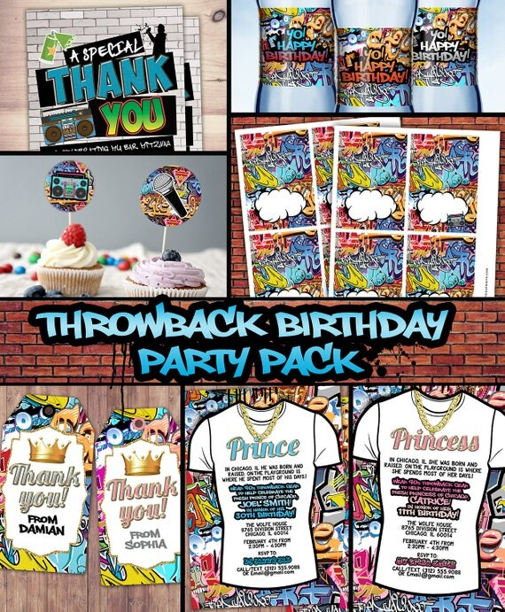 Fresh Prince Birthday Baby shower Hip Hop 90s throwback party