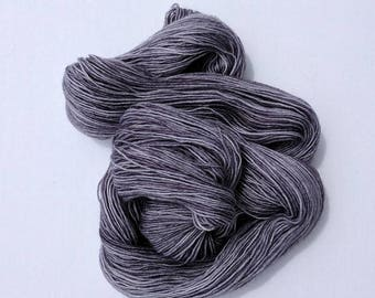 Silver Grey Hand-dyed Sock Weight Wool Nylon Blend Yarn