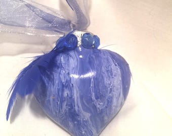 "Blue White Hand Painted Swirl  Acrylic Pour Glass Heart Ornament 2"" Ribbon Rhinestones"