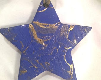 Blue & Gold Fluid Acrylic Pour  Hand Swirl  Painted Christmas Ornament Ceramic