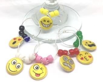 Emoji Wine Charms with Colored Beads x6