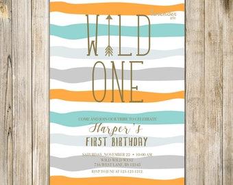 Rustic WILD ONE BIRTHDAY Invitation, Digital Boys Wild One Invite, Girl First Birthday Invites, Tribal theme 1st Birthday, Pow Wow Teepee