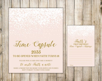 WINTER TIME CAPSULE Sign & Cards, 1st Birthday Time Capsule, Girl First Birthday Time Capsule, Baby Shower Wishes, Blush Pink Gold Glitters