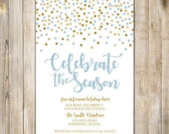 Blue Gold Glitters CELEBRATE the SEASON Invite, Holiday Party Flyer, Holly & Jolly, Christmas Invites, Corporate Event, Holiday Announcement