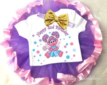 Birthday Abby Cadabby Fairy Pink Lavender Purple Dots Gold Sequins 2nd Second Shirt & Tutu Set Girl Outfit Party Dress sq Headband