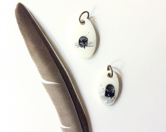 Birds over handmade pendant / original tiny ink sketch art on shrink plastic pendant / wearable tiny landscape art