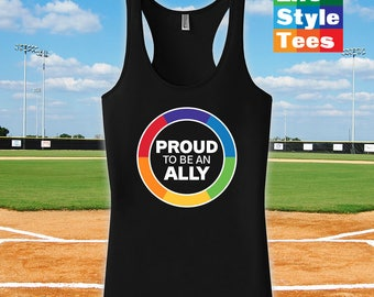 Proud to be an Ally Pride, Razorback,Gay Pride Month t-Shirt, Gay Pride Clothing, pride parade, Mens Womens Shirts, Fitness tank top -CT-430