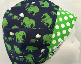 Mama & Baby Elephants Surgical Cap Bouffant Scrub Hats for Women Navy Blue Green Tech Nurse Medical OR LoveNstitchies Preppy Balloons