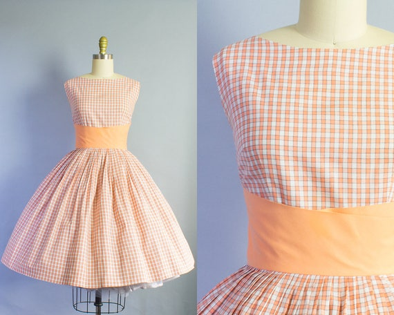 1950s Gingham Check Cotton Dress | Small (36B/25W)