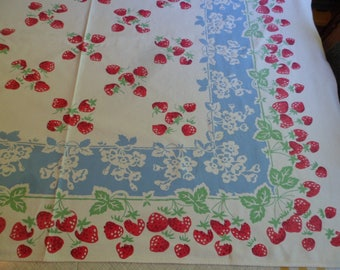 "Vintage 1940's Strawberries Tablecloth 42 x 54"" Heavy Cotton"