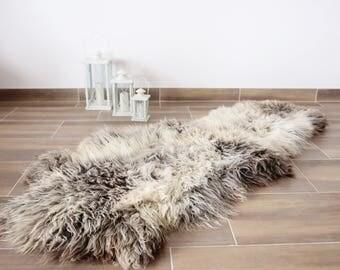 Double Sheepskin Rug | Large sheepskin rug | Shaggy Rug | Chair Cover | Runner Rug | Brown Rug | Carpet | Beige Sheepskin