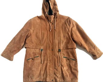 Tan Leather Hooded Parka Coat Hooded Jacket Winter Coat women's size Large