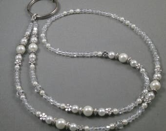"""beaded ID  breakaway lanyard 32"""" to 44"""" with magnetic clasp .toggle or on opening white pearls and crystals Name tag holder lanyard cute"""