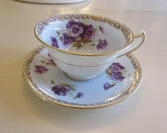 ENGLAND ROYAL CAULDON Teacup and Saucer Set