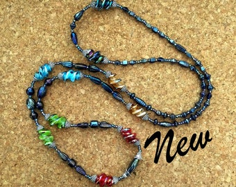 """Long Glass Beaded Necklace: 52"""" lampwork & iris glass handmade rope, multicolor with silver accents, doubled 2 strand, Boho, Sundance"""