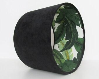 Black Leaves Lampshade Velvet Botanical