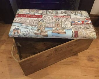 London/New York/Paris, Themed Vintage footstool/seat/storage box