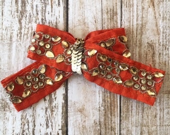 Orange bow/toddler bows/infant bow/newborn bow headband/clip bow/orange and gold accent/gifts for her/gifts under 10