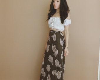 FLORAL MAXI SKIRT // Brown Floral Skirt // Festival Skirt // Festival Clothing // Boho Skirt // 90's grunge //