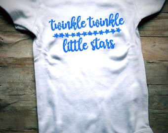 Twinkle Twinkle Little Star Baby Bodysuit - Star Baby Clothing - Nursery Rhyme Baby - Universe Baby Clothing - Stars - Wishing - Wish