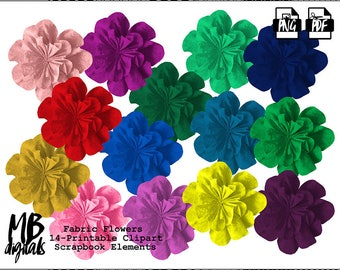 CARNATIONS Clipart, Fabric Flowers, Textured Flowers, Scrapbook Flowers, Printable Carnations, INSTANT DOWNLOAD