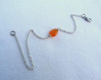 Brass bracelet and natural stone - orange -