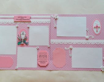 First Communion scrapbook pages for girls,12x12 Pages,Premade Scrapbook pages,Premade Pages,communion pages