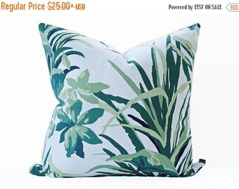 Sale Palm Leaf pillow cover - Green and Off White pillow - Tropical pillow - Greenery pillow - Madcap Cottage Fabric - Leaf pillow - White p