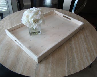 Whitelwashed Rustic Ottoman Tray, White Wooden Tray, Serving Tray, Coffee  Table Tray,