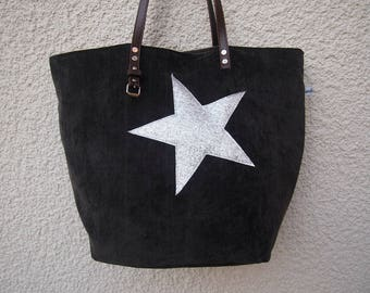Black designer tote bag and handles silver glitter star black leather
