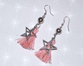 Earrings ' hoop earrings Silver 925 star and pink tassel