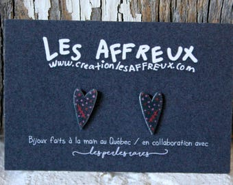 Unique Stud Earrings, made by hand, hearts polka dots, the creepy, studs,