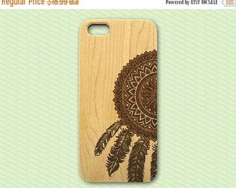 20% SALE Dreamcatcher Wood iPhone 5 Case, natural wood iphone 4 case, engraved iphone case, trendy iphone 4s 5s 5c case, feathers dream catc