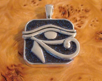 Silver Eye of Horus Hieroglyph Antennas For the Soul Chakra-Tuning Crystal Ormus Orgone Energy Unisex pendant necklace tray or keychain