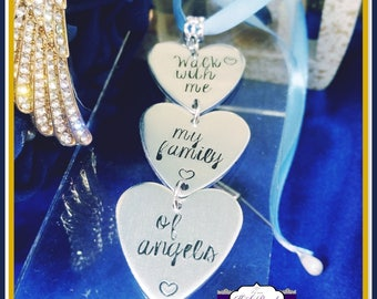 Memorial Bridal Bouquet Charm - Walk With Me My Family Of Angels - Wedding Bouquet Charm, Wedding Memorial Bouquet Charm, Memory Charm